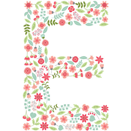 Vector floral letter E. The capital letter E is made of floral elements - pastel flowers, petals and leaves. Vector floral abc. English floral alphabet. Font vector illustration. Çizim