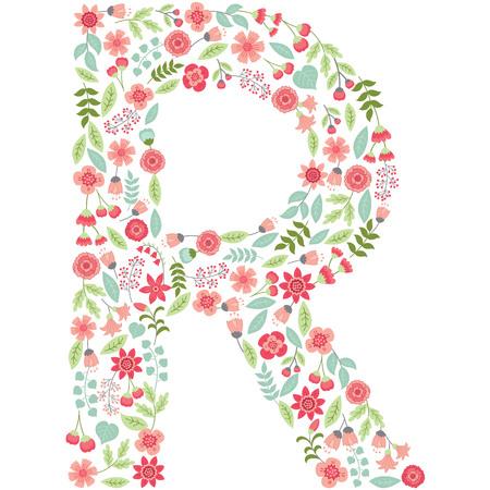 대문자 R은 파스텔 꽃, 꽃잎 및 잎과 같은 꽃 요소로 이루어져 있습니다. 일러스트