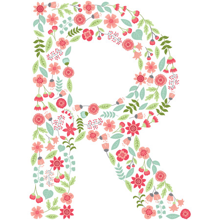 The capital letter R is made of floral elements - pastel flowers, petals and leaves.