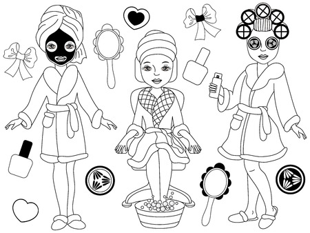 Vector black and white spa girls doing spa treatments - pedicure, facial and hair procedures. Vector spa. Spa girls clipart. Spa vector illustration. Ilustracja