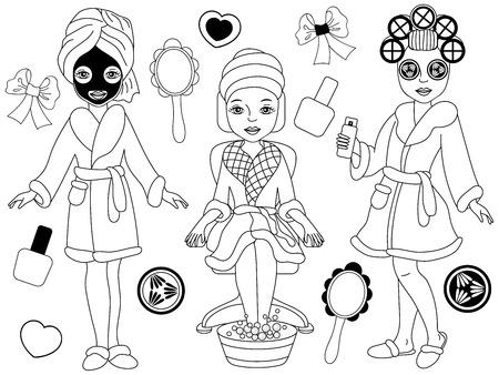 Wektor czarno-białych dziewczyn spa robi zabiegi spa - pedicure, zabiegi na twarz i włosy. Wektor spa. Clipartów dziewczyny Spa. Ilustracja wektorowa spa. Ilustracje wektorowe