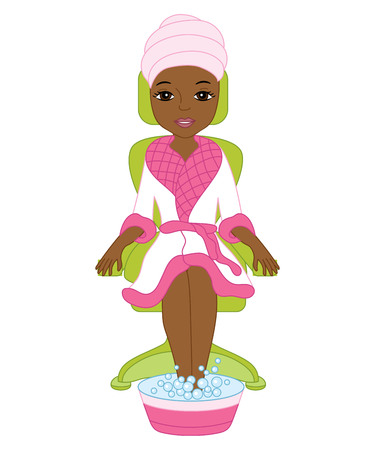 Vector African American spa girl doing for pedicure. Vector spa treatment. Spa girl clipart. Spa vector illustration.
