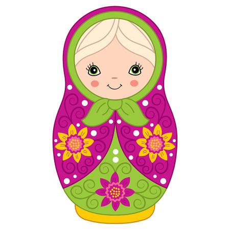 Vector bunte Matryoshka mit Blumenmuster, traditionelle russische Puppe. Vector Russian Verschachtelung Puppe, Babuschka-Puppe. Vektor Matreshka. Vektor-Illustration. Standard-Bild - 79648736