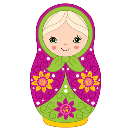 Vector colorful matryoshka with flowers pattern, traditional Russian doll. Vector Russian nesting doll, babushka doll. Vector matreshka. Vector illustration. Illustration