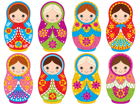 Vector colorful matryoshka set with flowers pattern, traditional Russian dolls. Vector Russian nesting dolls, babushka doll. Vector matreshka. Vector illustration.