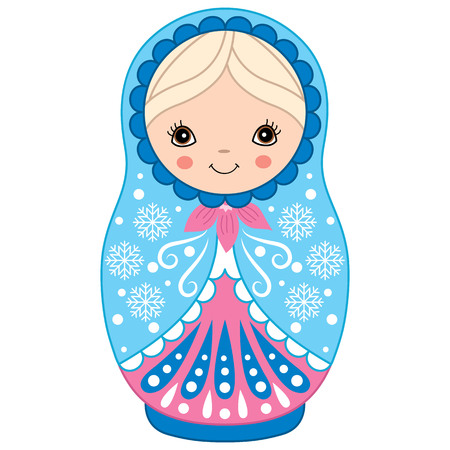 Vector matryoshka in blue and pink color, traditional Russian doll. Vector Russian nesting doll, babushka doll. Vector Winter matreshka. Vector illustration.