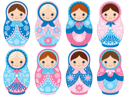 Vector matryoshka set in blue and pink color, traditional Russian dolls. Vector Russian nesting dolls, babushka doll. Vector Winter matreshka. Vector illustration.