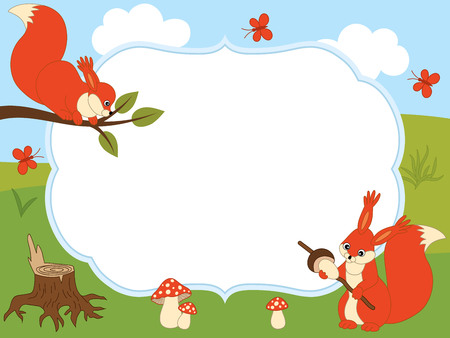 amanita: Vector greeting card template with cartoon squirrels, butterflies, amanita on a sky and meadow background. Card template for baby shower, invitations, birthdays. Vector illustration.