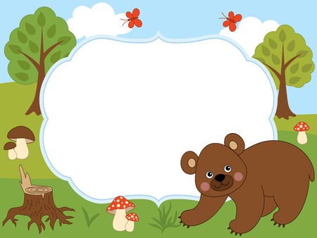 amanita: Vector greeting card template with cartoon bear, butterflies, mushrooms on a sky and meadow background. Card template for baby shower, invitations, birthdays with space for your text. Vector illustration.
