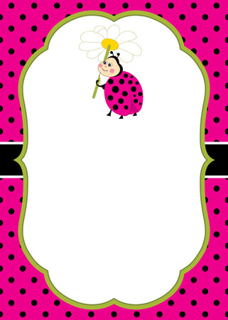 Vector card template with a cute cartoon ladybug on polka dot background. Invitation card template for baby shower, birthday and parties with space for your text. Vector illustration. Stock Vector - 79937036
