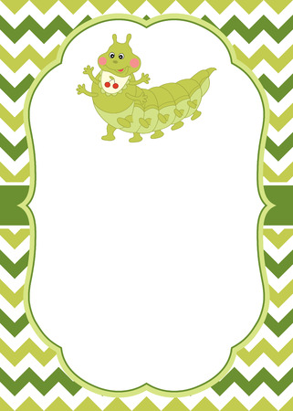 Vector card template with a cute cartoon caterpillar on chevron background. Invitation card template for baby shower, birthday and parties with space for your text. Vector illustration.