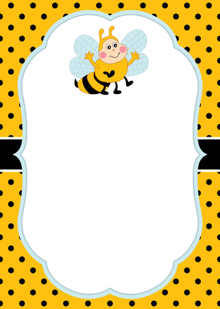 Vector card template with a cute bee on polka dot background. Invitation card template for baby shower, birthday and parties with space for your text. Vector illustration.