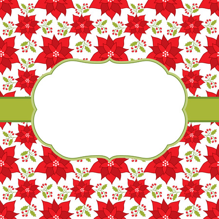 holly day: Vector card template with a white frame on poinsettia background. Card template for Christmas and New Year holidays with space for your text.  Vector illustration. Illustration