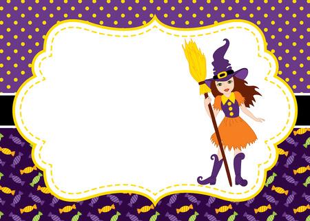 Vector kaartsjabloon met een heks op polka dot en snoep achtergrond. Uitnodiging kaartsjabloon voor Halloween-feestjes met ruimte voor uw tekst. Vector illustratie.