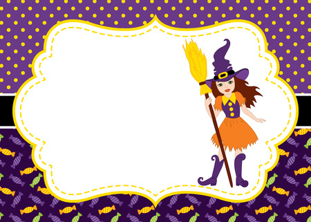 Vector card template with a witch on polka dot and sweets background. Invitation card template for Halloween parties with space for your text. Vector illustration.