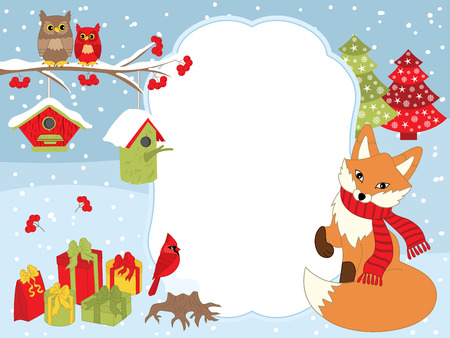 Vector Christmas and New Year card template with a cute fox, owls on the branch, cardinal, birdhouses, gift boxes on snow background. Christmas and New Year card template with space for your text.