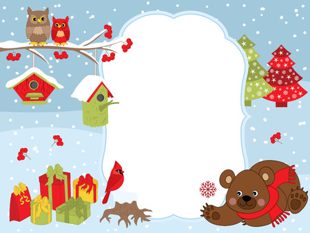 snow cardinal: Vector Christmas and New Year card template with a cute bear, owls on the branch, cardinal, birdhouses, gift boxes on snow background. Christmas and New Year card template with space for your text. Illustration