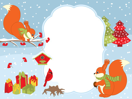 snow cardinal: Vector Christmas and New Year card template with cute squirrels, cardinal, gift boxes, red berries and birdhouses on snow background. Christmas and New Year card template with space for your text.