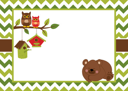 Vector card template with a cartoon bear, owls on the branch, birdhouses and chevron background. Card template for baby shower, birthday and parties with space for your text. Vector illustration. Vettoriali