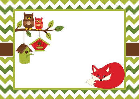 Vector card template with a cartoon fox, owls on the branch, birdhouses on chevron background. Card template for baby shower, birthday and parties with space for your text. Vector illustration. Illustration