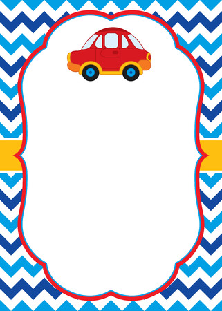 Vector card template with a colorful car on chevron background. Card template for baby shower, birthday and  parties with space for your text. Vector illustration.