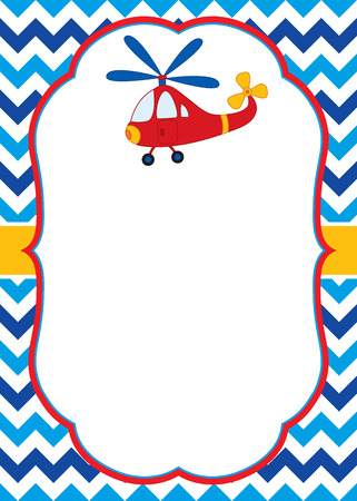 plaything: A vector card template with a colorful helicopter on chevron background for baby shower, birthday parties with space for your text. Vector illustration. Illustration