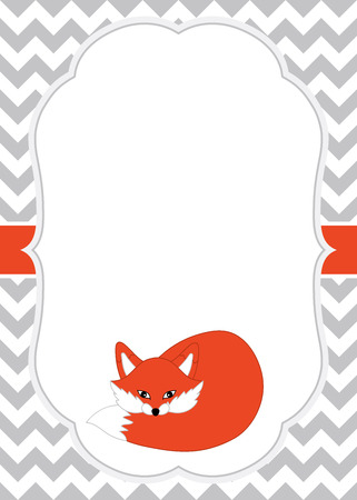 scarpbook: Vector card template with a cute fox on chevron background. Card template for baby shower, birthday and parties with space for your text. Vector fox. Vector illustration.