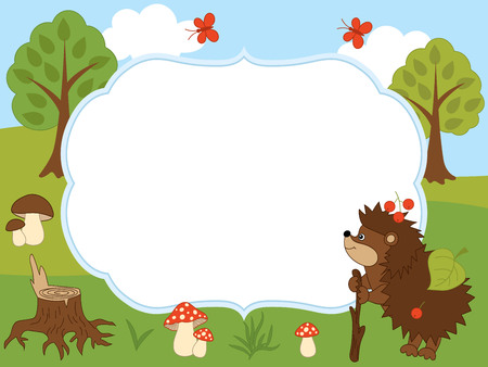 Vector card template with a cute hedgehog, butterflies, mushrooms, trees on forest background. Card template for baby shower, birthday and parties with space for your text. Vector illustration. Illustration