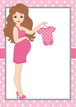 baby and mother: A card template with a pregnant woman with baby clothes on polka dot background. Card template for baby shower parties with space for your text. Vector baby girl. Vector illustration. Illustration