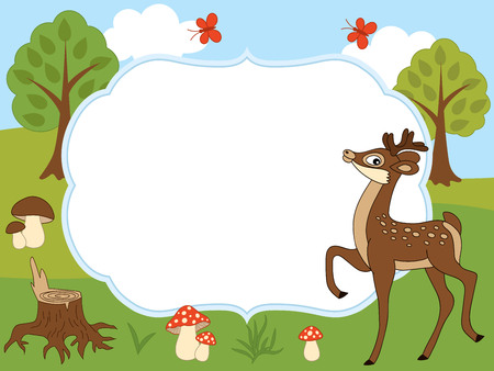 A card template with a cute deer, butterflies, mushrooms, and trees on forest background for baby shower, birthday and parties with space for your text. Vector illustration.
