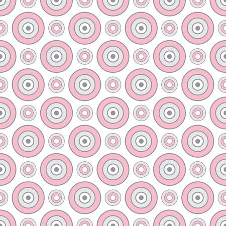 Abstract geometric seamless pattern with circle ornament in rose pink and grey color. Vector seamless pattern.