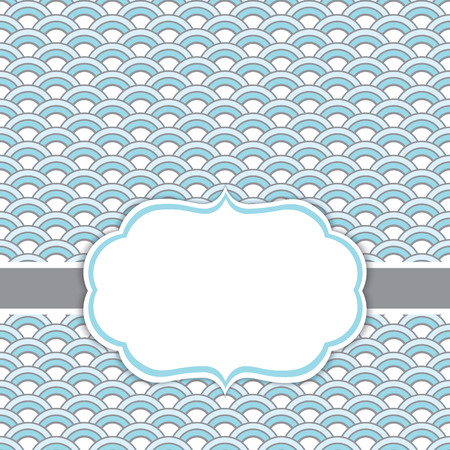 Vector card template with a frame on waves background in blue and white  color with space for your text. Vector illustration.