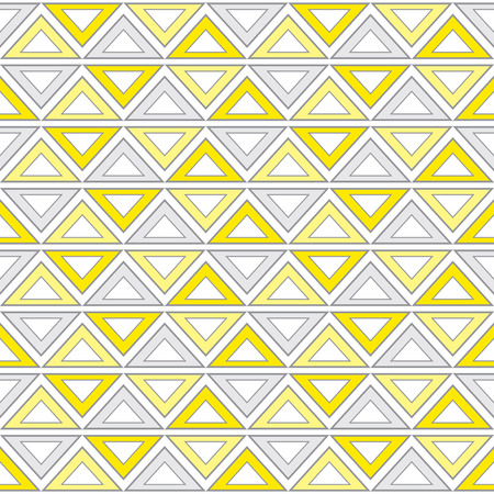 Geometric seamless pattern with tribal elements in light yellow and grey color. Seamless pattern with triangles. Vector seamless pattern.