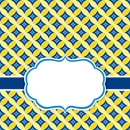 Vector card template with a frame on ornament background in navy and yellow color with space for your text. Vector illustration.