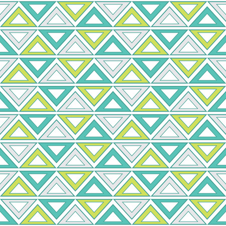 Geometric seamless pattern in tribal style in turquoise, lime green and grey color. Seamless pattern with triangles. Vector seamless pattern. Иллюстрация