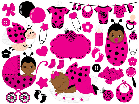Vector cute baby girl set with ladybug pattern, includes African American baby girl, stroller, toys, baby clothes and ladybug. Vector baby girl. Baby shower vector illustration.