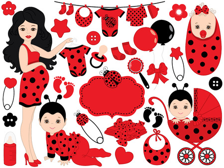 Vector cute baby girl set with ladybug pattern, includes African American pregnant woman, baby girl, stroller, toys and baby clothes. Vector baby girl. Baby shower vector illustration.