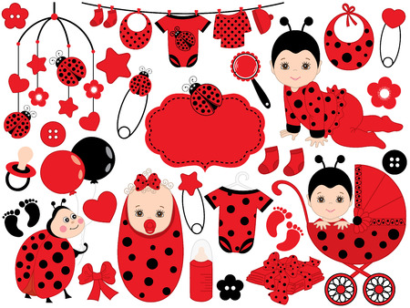 Vector cute baby girl set with ladybug pattern, includes a baby girl, stroller, crib toys, ladybug and baby clothes. Vector baby girl. Baby shower vector illustration.