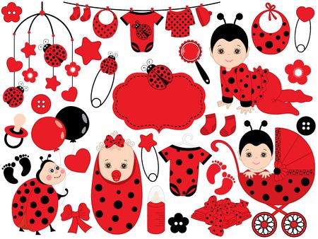 Vector schattige baby meisje met lieveheersbeestje patroon, bevat een baby meisje, wandelwagen, wieg speelgoed, lieveheersbeestje en babykleding. Vector babymeisje. Baby douche vectorillustratie.