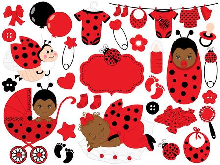 Vector cute baby girl set with ladybug pattern, includes African American baby girl, ladybug, stroller and clothes. Vector African American baby girl. Baby shower vector illustration. Illustration