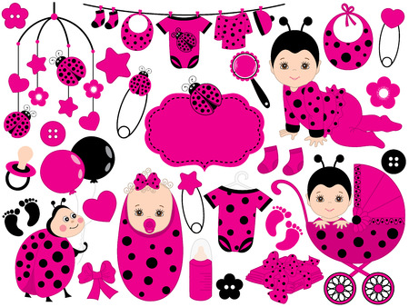 Vector cute baby girl set with ladybug pattern, includes a baby girl, stroller, balloons, crib toys, baby clothes and ladybug Illustration