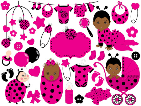 A vector of cute baby girl set with ladybug pattern, includes African American baby girl, ladybug, stroller, toys and baby clothes. Vector African American baby girl. Baby shower vector illustration. Illustration
