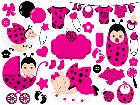 Vector cute baby girl set with ladybug pattern includes a baby girl, ladybug, toys, stroller and baby clothes. Vector baby girl. Baby shower vector illustration. Ilustração