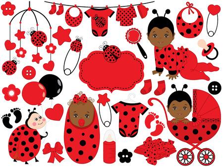 Vector cute baby girl set with ladybug pattern, includes African American baby girl, ladybug, stroller, toys and baby clothes. Vector African American baby girl. Baby shower vector illustration.