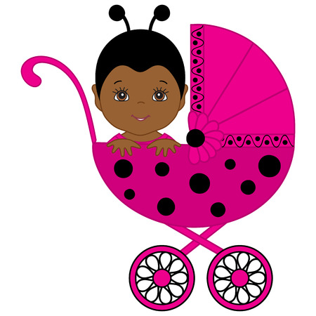 Vector African American cute baby girl wearing pink and black ladybug costume. Baby girl in ladybug outfit sitting in the stroller. Vector baby girl. Newborn vector illustration.