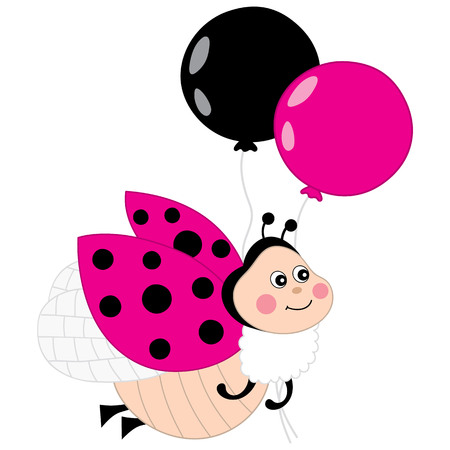 Vector card template with a cute cartoon ladybug on polka dot vector cute ladybug flying with balloons on white background vector pink ladybug vector illustration stopboris Images