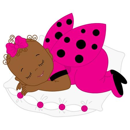 Vector African American cute baby girl in pink ladybug costume sleeping. Vector baby girl. Newborn vector illustration.