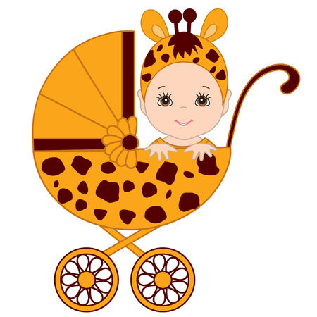 Vector cute baby wearing giraffe costume. Baby in giraffe outfit sitting in the stroller. Vector baby boy. Vector baby girl. Newborn vector illustration.