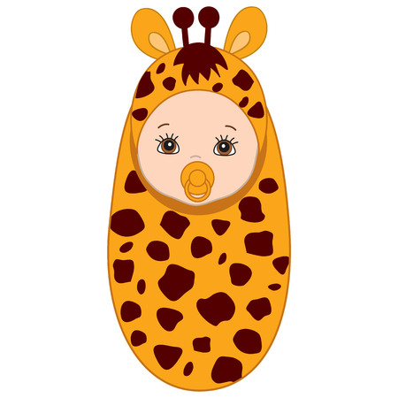 swaddle: Vector cute baby wrapped in blanket with giraffe pattern. Baby in giraffe outfit. Vector baby boy. Vector baby girl. Newborn vector illustration.