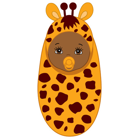 swaddle: Vector African American cute baby wrapped in blanket with giraffe pattern. Baby in giraffe outfit. Vector baby boy. Vector baby girl. Newborn vector illustration.